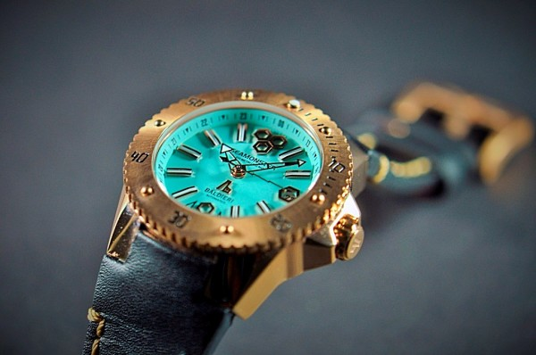 rose gold, watches, seamonster, alessandro baldieri, lady watch, 38mm, black dial, diving watch,